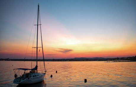 Yacht, sunset